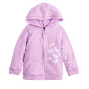 French Terry Lilac Butterflies Zip-Up Hoodie 12M